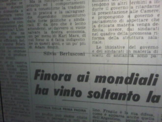 Berlusconi opinionista del Corriere della Sera, correva l'anno 1978