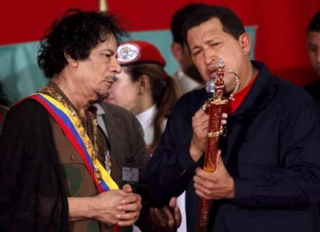 chavez gheddafi e1299087274322 Fidel e Chavez, gli amici di Gheddafi