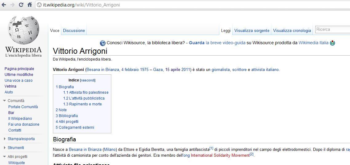 Supporter e complottisti, per la morte di Arrigoni è zuffa su Wikipedia