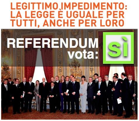 Referendum sul legittimo impedimento, vota SI per dire NO