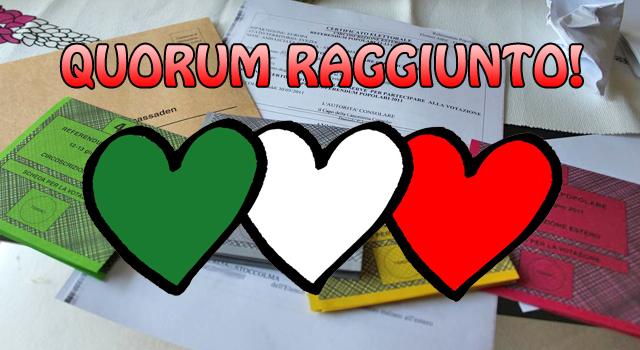 Referendum, quorum raggiunto. Adesso non prendeteci in giro