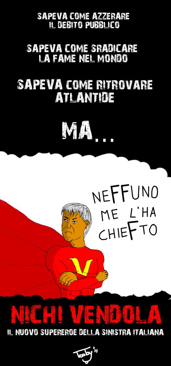 Il nuovo supereroe della sinistra italiana (vignetta)