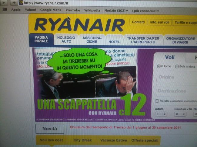"""Berlusconi e la pubblicità di Ryanair, """"una scappatella? 12 euro"""""""