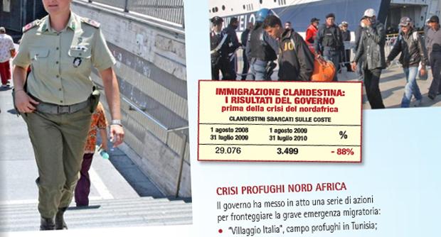 """Brochure del PdL sui """"risultati"""" del governo: """"sbarchi -88%"""" poi l'errore sui """"cittadini libici"""""""