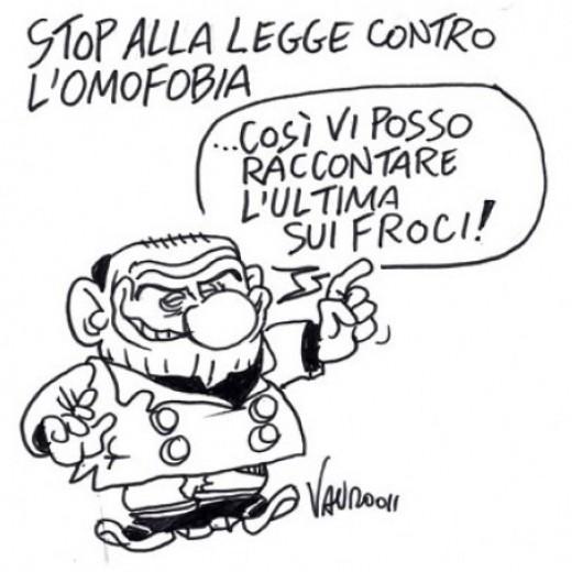 Stop alla legge contro l'omofobia (vignetta)