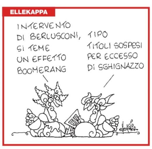 Intervento di Berlusconi alla Camera (vignetta)
