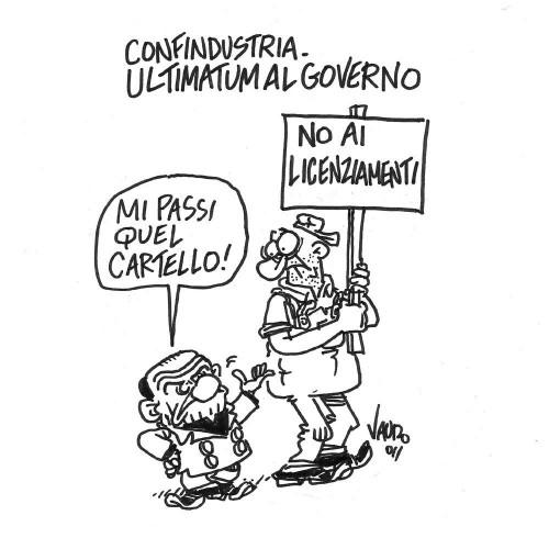 Confindustria, ultimatum al Governo (vignetta)