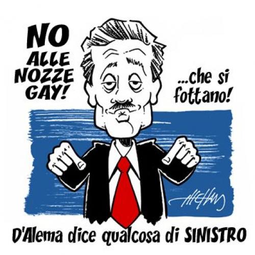 D'alema contro le nozze gay (vignetta)