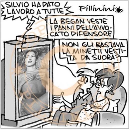 Silvio ha dato lavoro a tutte (vignetta)