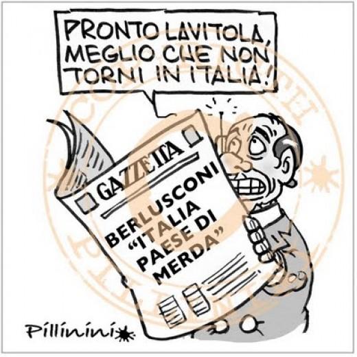 """Berlusconi: """"Lavitola, meglio che non torni"""" (vignetta)"""