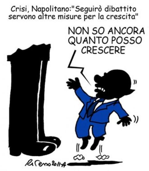 """Napolitano: """"misure per la crescita"""" (vignetta)"""