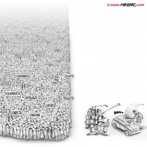 Indignados e media italiani (vignetta)