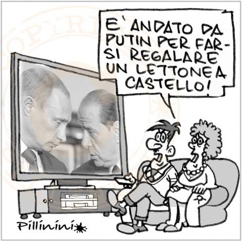 Il Premier al compleanno di Putin (vignetta)