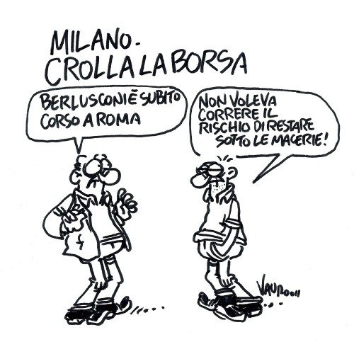 Milano, crolla la borsa (vignetta)