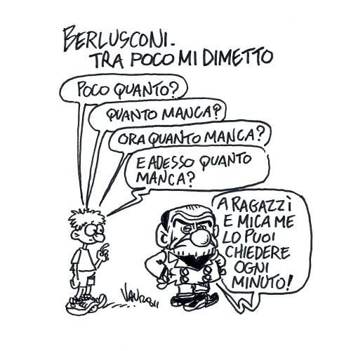 Berlusconi si dimette, tra poco (vignetta)