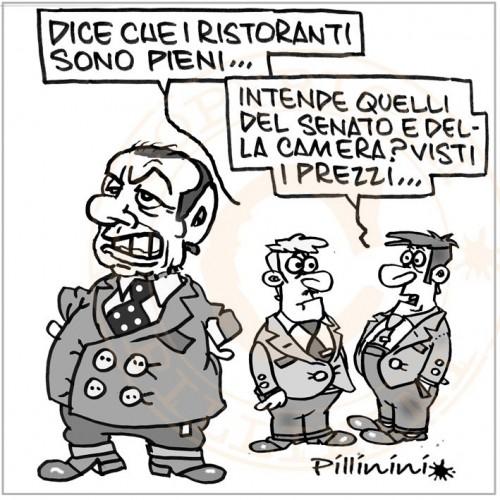 Berlusconi e i ristoranti pieni (vignetta)