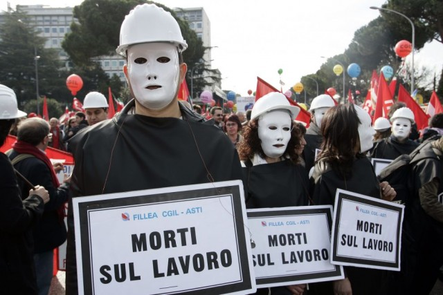 Morti sul lavoro, in 10 mesi superate le vittime del 2009