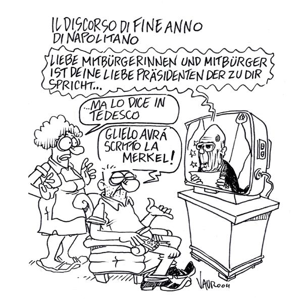 Il discorso di fine anno di Napolitano – vignetta