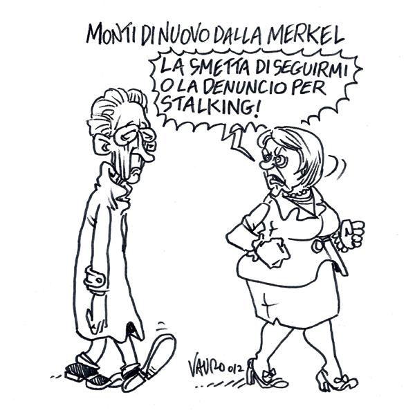 Monti di nuovo dalla Merkel – vignetta
