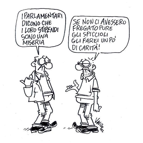 Gli stipendi dei parlamentari – vignetta
