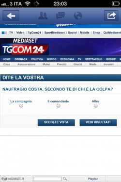 """Costa Concordia, il Tgcom24 lancia il sondaggio: """"Secondo te di chi è la colpa?"""""""