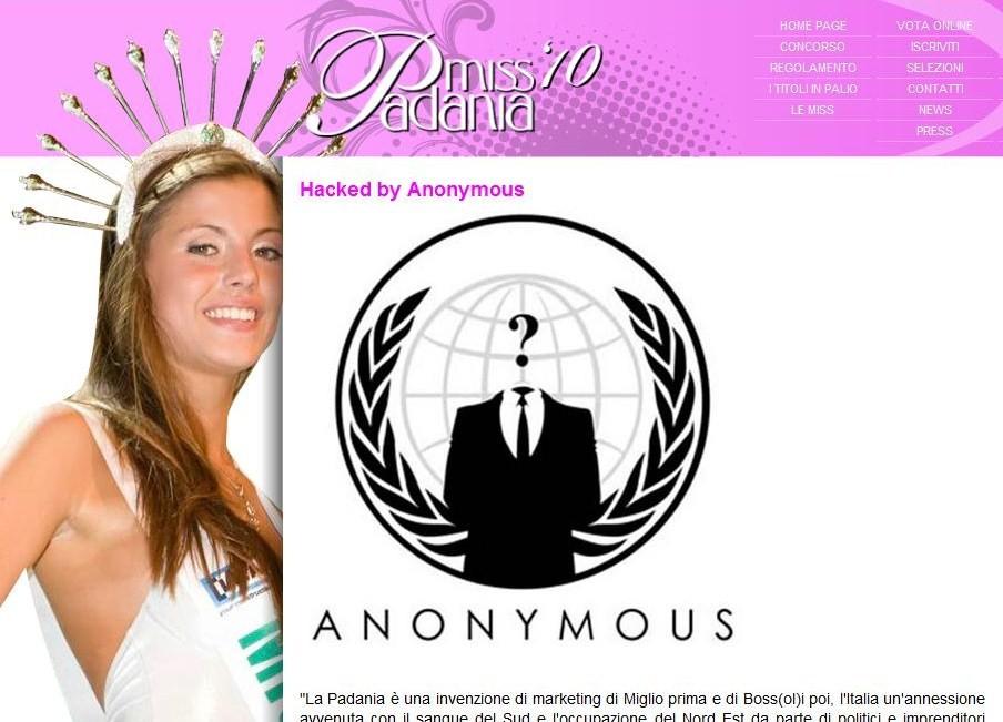 Ritorna Anonymous. E colpisce Miss Padania