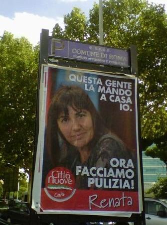 """Spuntano i manifesti con la Polverini """"giustiziere"""""""