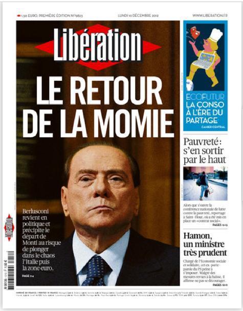 """""""Il ritorno della mummia"""", la prima pagina di Liberation su Berlusconi"""