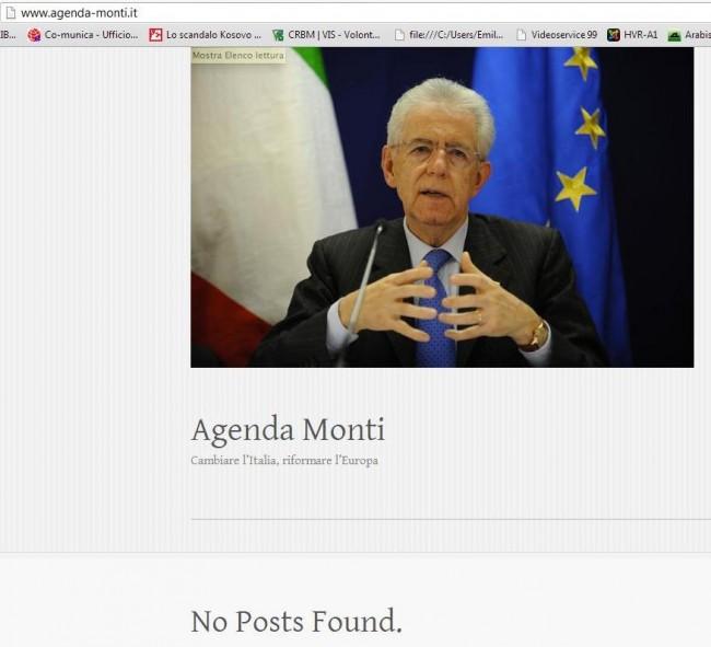 """On line il sito """"Agenda Monti"""". Ma è vuoto – FOTO"""