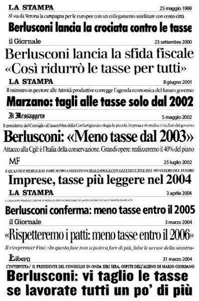 Berlusconi e le tasse, dieci anni di promesse non mantenute – LA FOTO