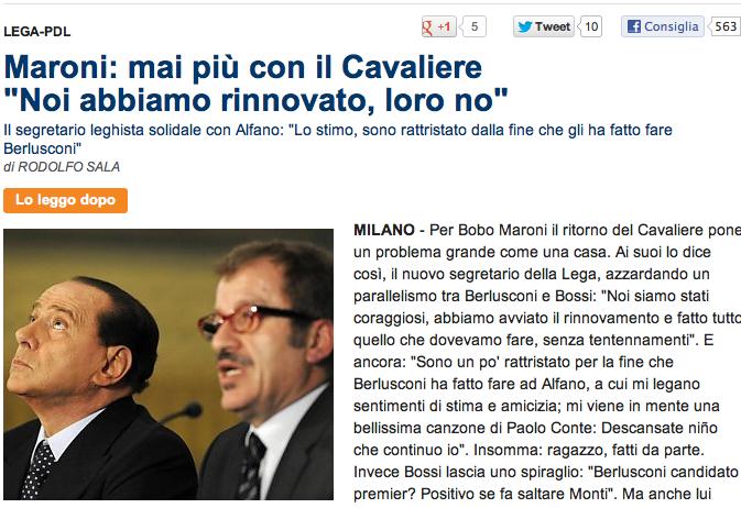 Maroni: mai più con Silvio. Era il luglio 2012 – FOTO