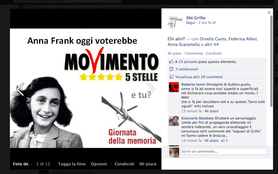 Quel fotomontaggio su Anna Frank che imbarazza il Movimento 5 Stelle