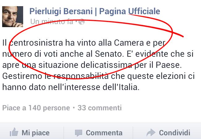 """Bersani su Facebook: """"Il centrosinistra ha vinto"""" – FOTO"""