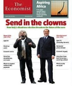 """""""Entrino i clown"""", la copertina dell'Economist su Grillo e Berlusconi – FOTO"""