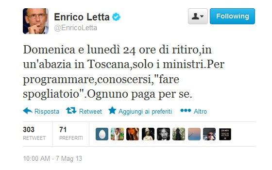 """E Letta chiama i ministri a sé: """"Tutti in convento"""""""