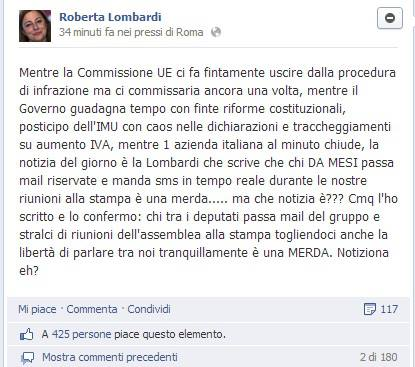 """La Lombardi (M5S): """"chi manda sms alla stampa durante le nostre riunioni è una merda"""" – GUARDA"""