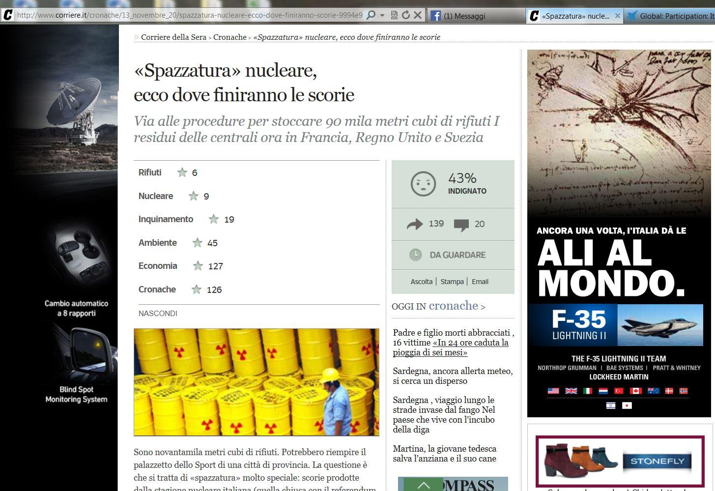L'F35 adesso si fa pubblicità, il banner sul sito del Corsera