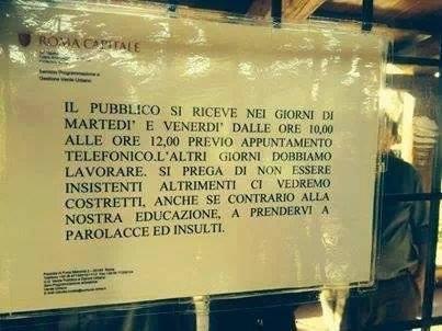 """""""Altrimenti vi prendiamo a parolacce"""": la comunicazione al pubblico di Roma Capitale – FOTO"""