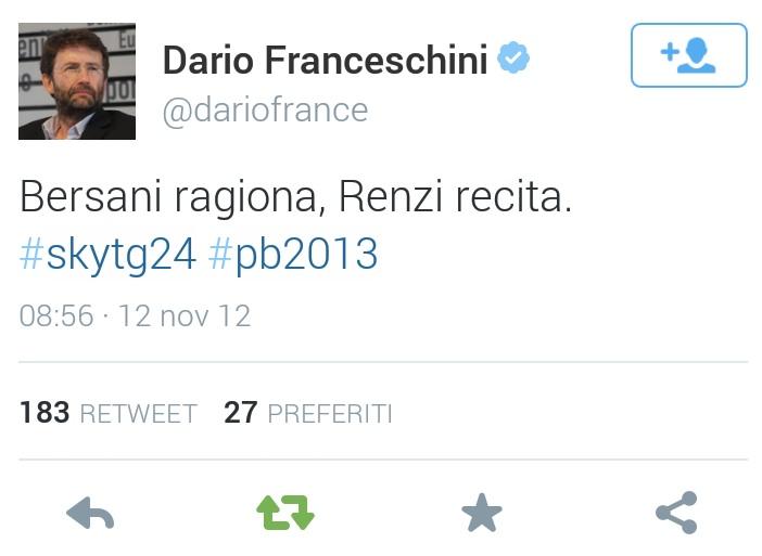 "Quando Franceschini scriveva: ""Bersani ragiona, Renzi recita"" – GUARDA IL TWEET"